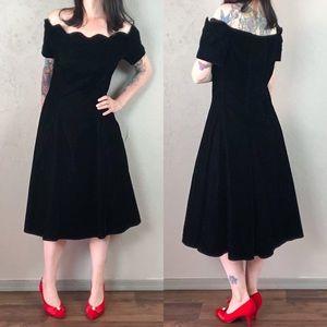 Vintage 1980s Black Velvet Dress Off the Shoulder
